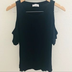 Zara collection cut shoulder black top size small